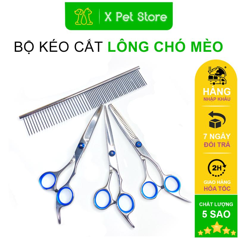 Kéo Cắt Tỉa Lông Chó Mèo, Kéo Cong, Kéo Thẳng,Kéo Lược và Lược Inox, Chất Liệu Thép Không Gỉ