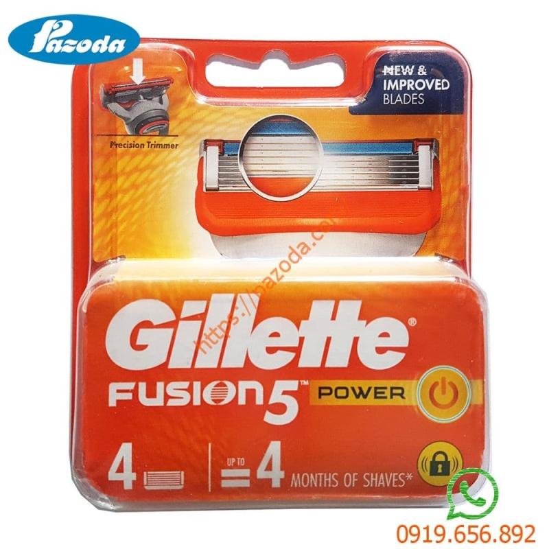 Hộp 4 lưỡi dao cạo râu Gillette Fusion Power( đầu cạo 5 lưỡi kép) nhập khẩu