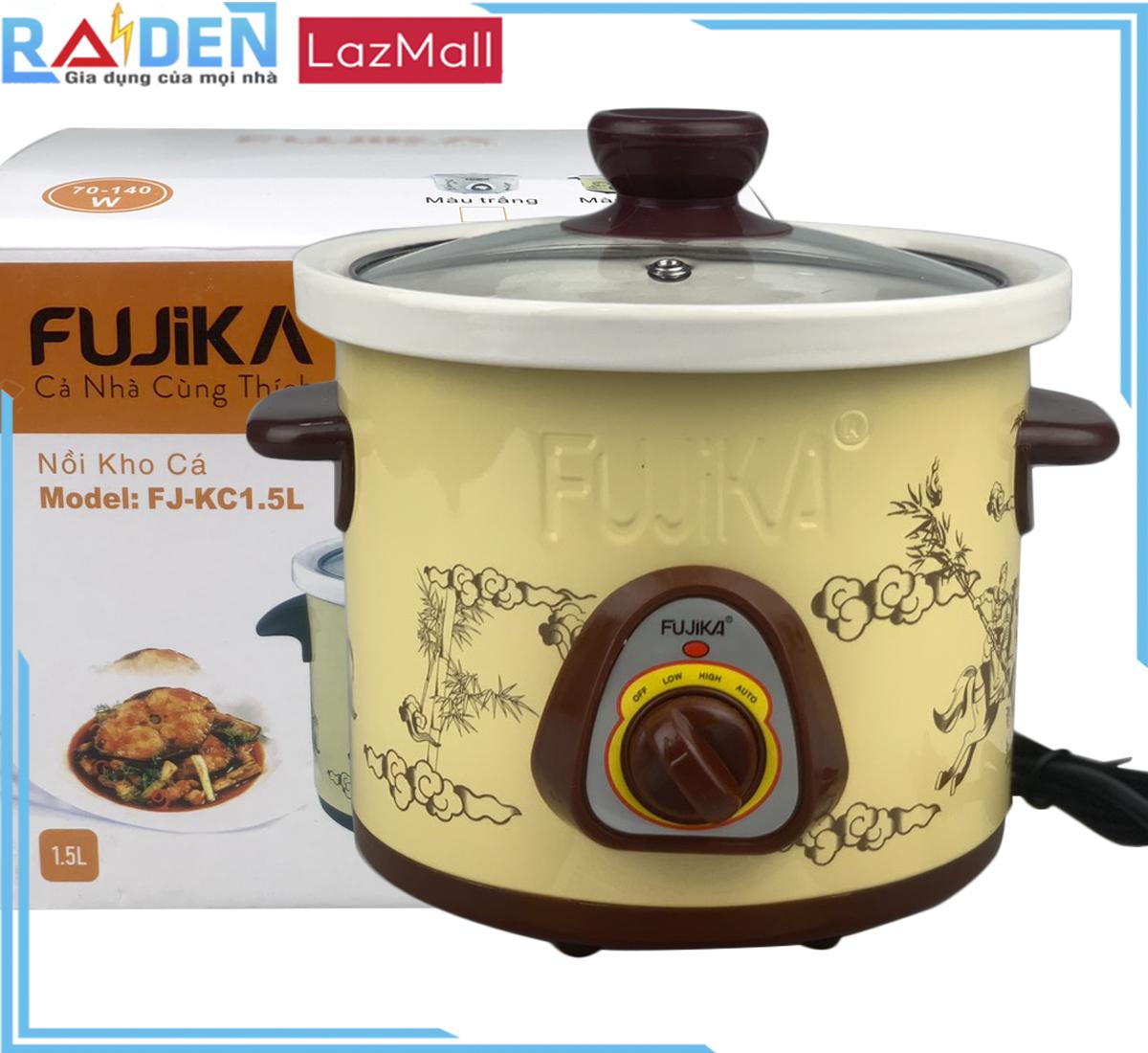 Nồi Nấu Chậm 1.5L,Nồi Kho Cá,Nồi Chưng Yến Điện,Nồi Nấu Cháo Fujika FJ-KC15 dung tích 1.5 lít dùng nấu cháo cho bé, kho cá, kho thịt, chưng yến, hầm thức ăn,nấu chậm giữ nguyên hương vị