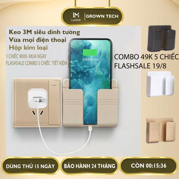 [SĂN VOUCHER 7%] Giá đỡ điện thoại thông minh dán tường GrownTech, kệ đựng remote điều khiển có sẵn miếng dán tường 3M siêu dính