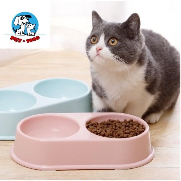 Bát Ăn Đôi - Khay Đựng Thức Ăn Bằng Nhựa Cao Cấp Cho Chó Mèo