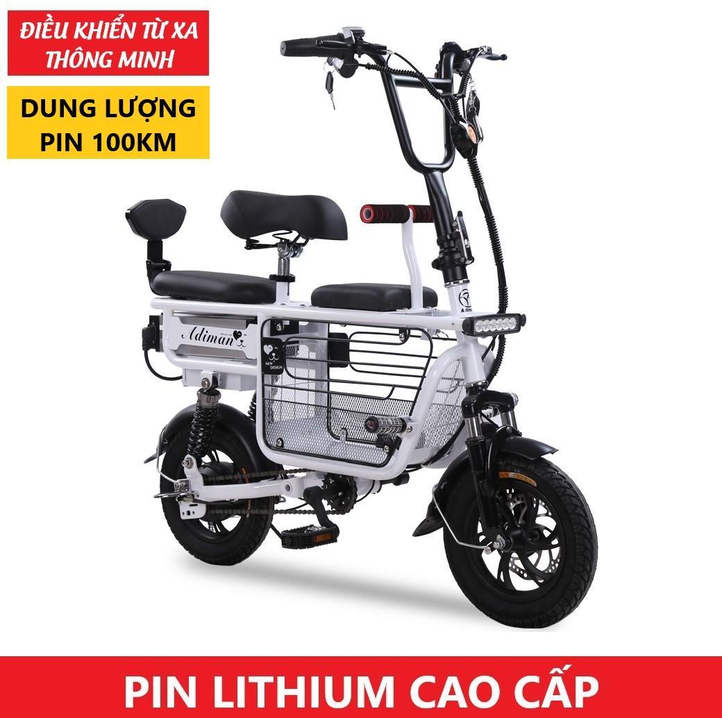 Xe Điện Mini Gấp Gọn ADIMAN | Xe Đạp Điện Giỏ To | 3 Ghế Ngồi | Pin Lithium 48v-10A