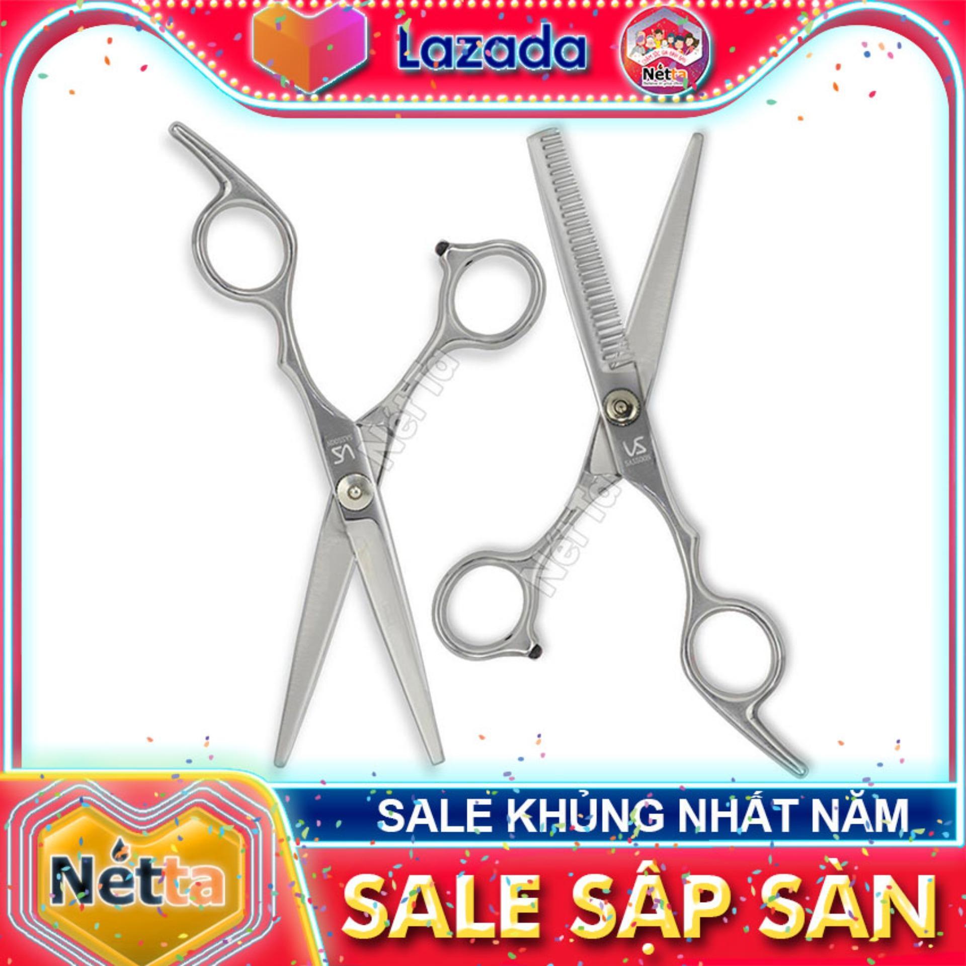 Bộ kéo cắt tóc cao cấp làm bằng thép không gỉ VS SASSON ( gồm kéo cắt và kéo tỉa) nhập khẩu