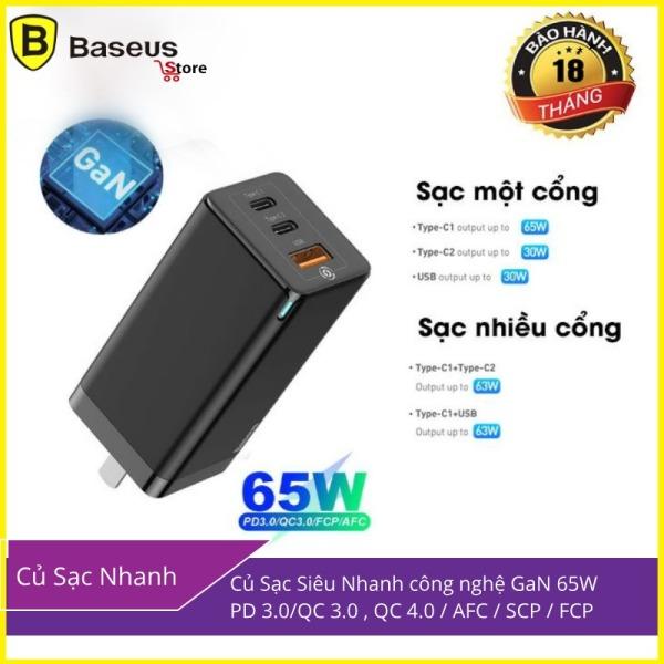 Giá Củ sạc cực mạnh siêu nhanh 65W BS-E915 1 cổng USB, 2 cổng Type-C Hỗ trợ QC 4.0, QC 3.0, PD 3.0 + Kèm Cáp PD 100W cho điện thoại Iphone 11 Pro, MacBook Pro, Samsung, Xiaomi, Huawei - Phân phối bởi Baseusstore