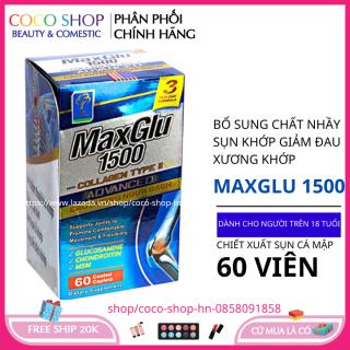 Glucosamin 1500mg viên uống giảm đau xương khớp MaxGlu tốt cho xương khớp hộp 60 viên chiết xuất sụn cá mập HSD 2023 thumbnail