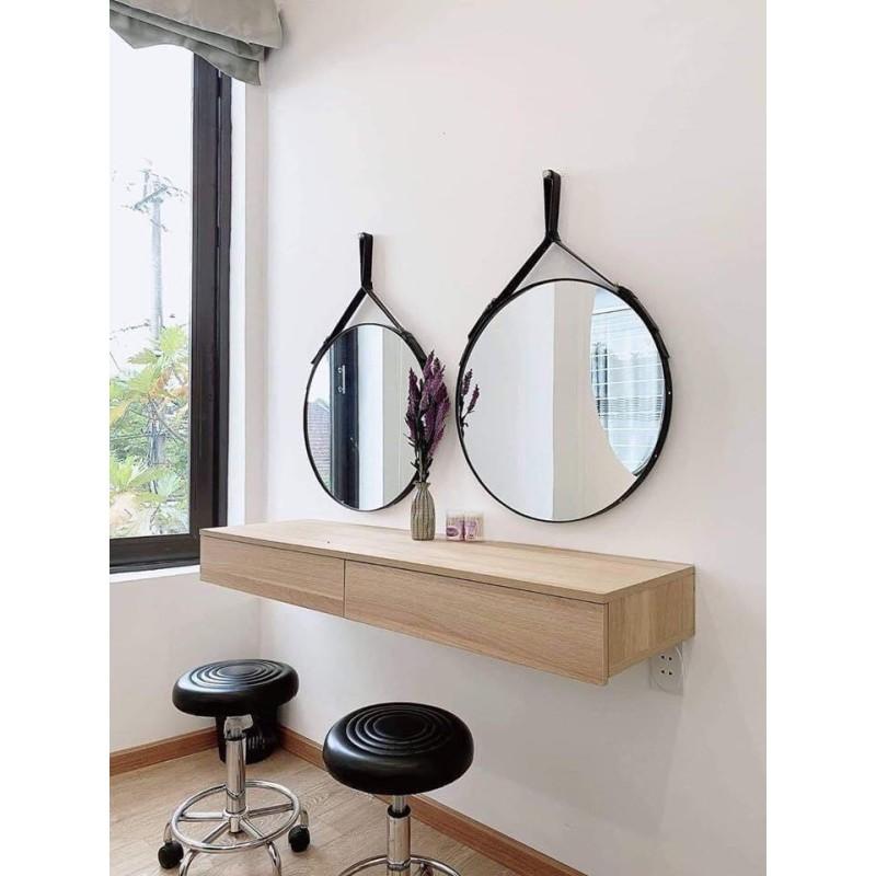 Gương tròn treo tường dây da decor siêu xinh