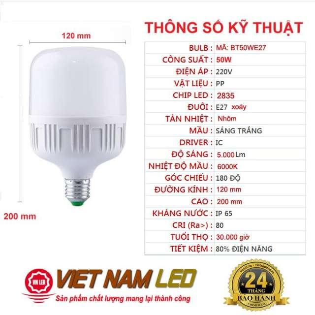 Bóng đèn Led Trụ 50W đuôi Xoáy E27 Sáng Trắng, Tiết Kiệm điện Năng đến 80% So Với Bóng đèn Thường Giá Cực Ngầu