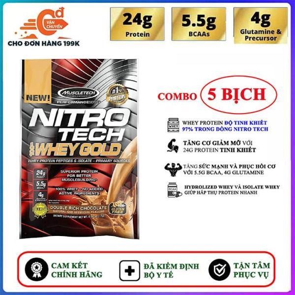 Combo 5 Gói Sample Sữa tăng cơ giảm mỡ Nitro Whey Gold của Muscle Tech hương Chocolate (33.3g/gói) hỗ trợ tăng sức cơ, tăng sức bền sức mạnh, đốt mỡ giảm cân, giảm mỡ bụng mạnh mẽ cho người tập gym và chơi thể thao nhập khẩu
