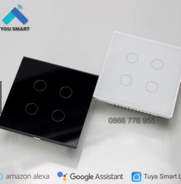 Công Tắc Thông Minh Vuông Wifi Tuya Smartlife 4 Nút