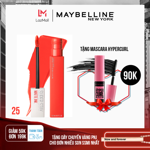[Thanh toán ví eM - Giảm 39K đơn 169K] Son Kem Lì 16h Lâu Trôi Maybelline New York Super Stay Matte Ink Lipstick 5ml cao cấp