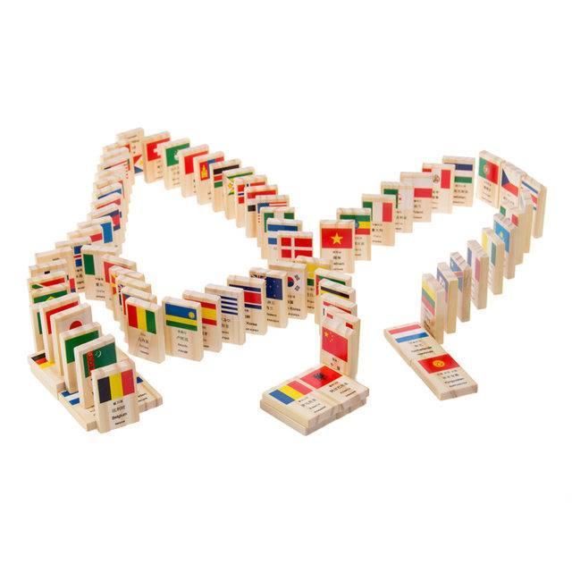 Bộ DOMINO cờ các nước bằng gỗ