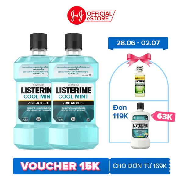 Bộ 2 Chai Nước Súc Miệng Listerine Giúp Hơi Thở Thơm Mát Cool Mint Zero 750mlx2 540021939