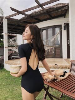 [KIỂU MỚI + HÀNG CAO CẤP] Bikini liền mảnh tay ngắn màu đen khoét lưng GIỌT NƯỚC thumbnail