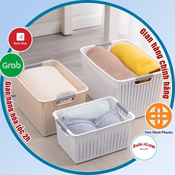 Rổ đan mây đựng đồ đa năng 3 size nhựa Việt Nhật, Giỏ đan đựng quần áo, dụng cụ nhà bếp thiết kế hiện đại (3415)-br01262