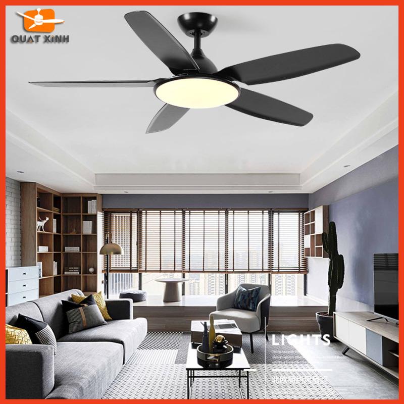 Quạt Trần Đèn Lưu Lượng Gió Lớn QX1322D - Quạt trần đèn trần chung cư, phòng khách [Động cơ DC, 5 Cánh Nhựa ABS Đen]