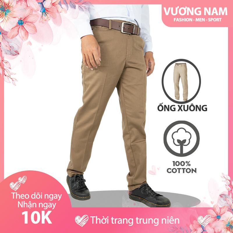 Quần kaki nam trung niên đẹp cao cấp ống suông vải dày form chuẩn