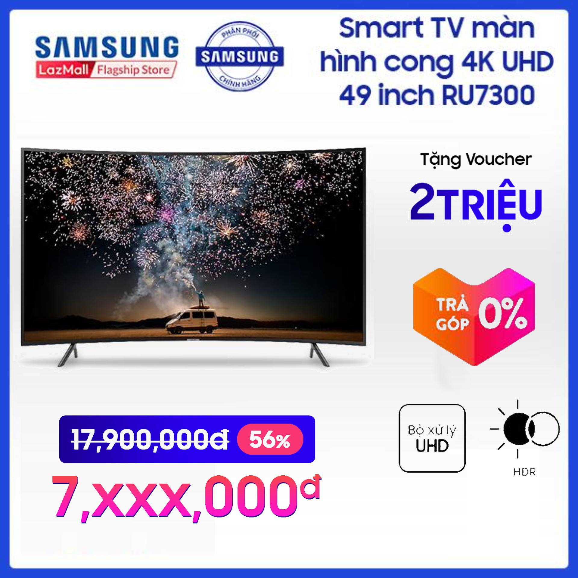 Voucher Khuyến Mãi Smart TV Samsung Màn Hình Cong 4K UHD 49inch - Model UA49RU7300KXXV (2019) - Cải Tiến Màu Sắc PurColor + Bộ Xử Lý Hình ảnh 4K UHD HDR - Hàng Phân Phối Chính Hãng
