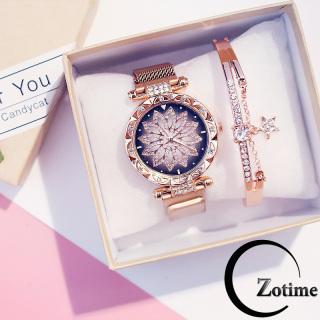 Đồng hồ nữ đeo tay đẹp dây lưới nam châm mặt hoa ZO23 thumbnail