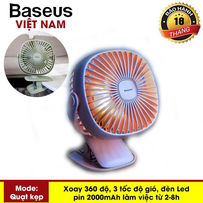 Quạt kẹp mini - Quạt Sạc Tích Điện 2000mAh Cầm Tay Hoặc Để Bàn và có kẹp tiện dụng tích hợp đèn ngủ Đa Năng pin bền ( Hoạt động liên tục 3-8h ) thương hiệu Baseus