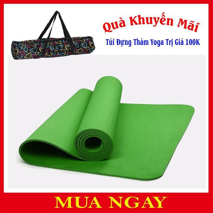 Thảm Yoga Cao Cấp 1 Lớp 6mm Tặng Kèm Túi Đựng Thảm Và Dây Buộc