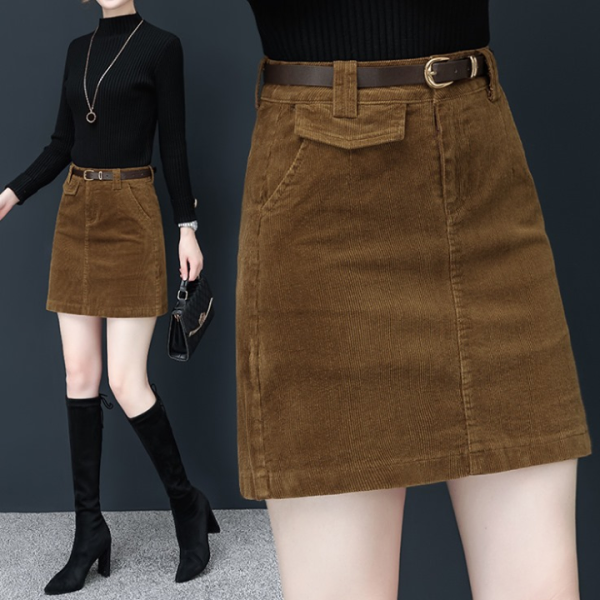 Chân váy chữ A chất liệu nhung tăm kèm đai lưng