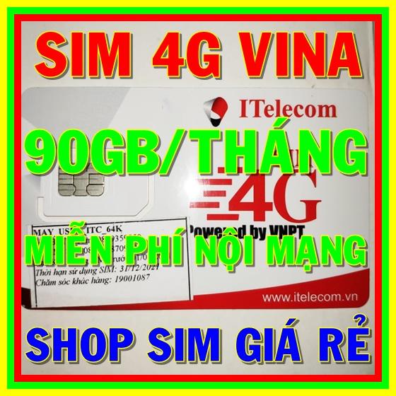 Giá Sim 4G Vina gói 3GB/ngày (90GB/tháng) + 30 phút gọi ngoại mạng + Miễn phí gọi nội mạng Vinaphone - Giống như sim 4G Vinaphone VD89P (VD89 Plus) - Shop Sim Giá Rẻ