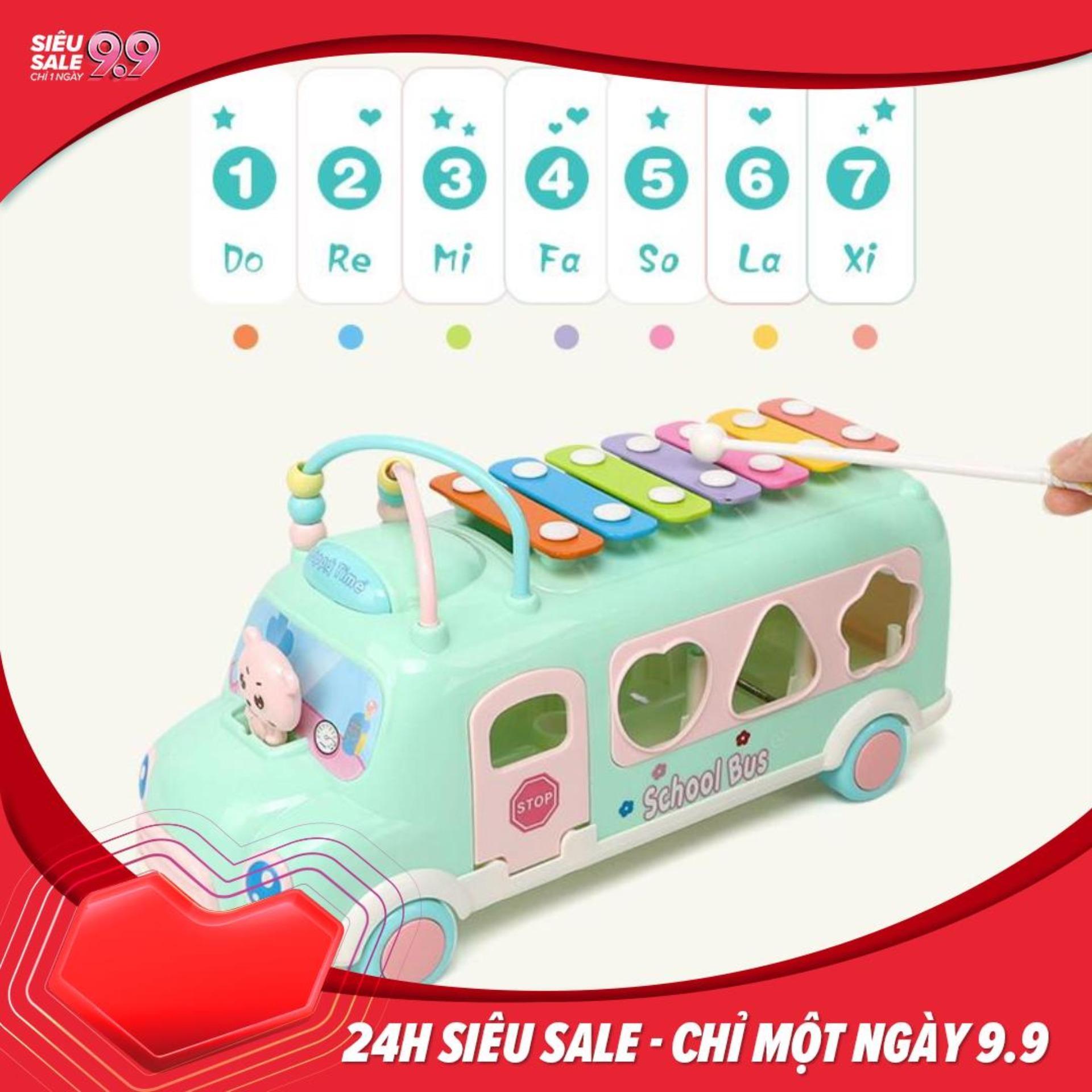 Đồ chơi xe school bus thả hình khối kèm đàn gõ piano cho bé phát triển trí thông minh Nhật Bản