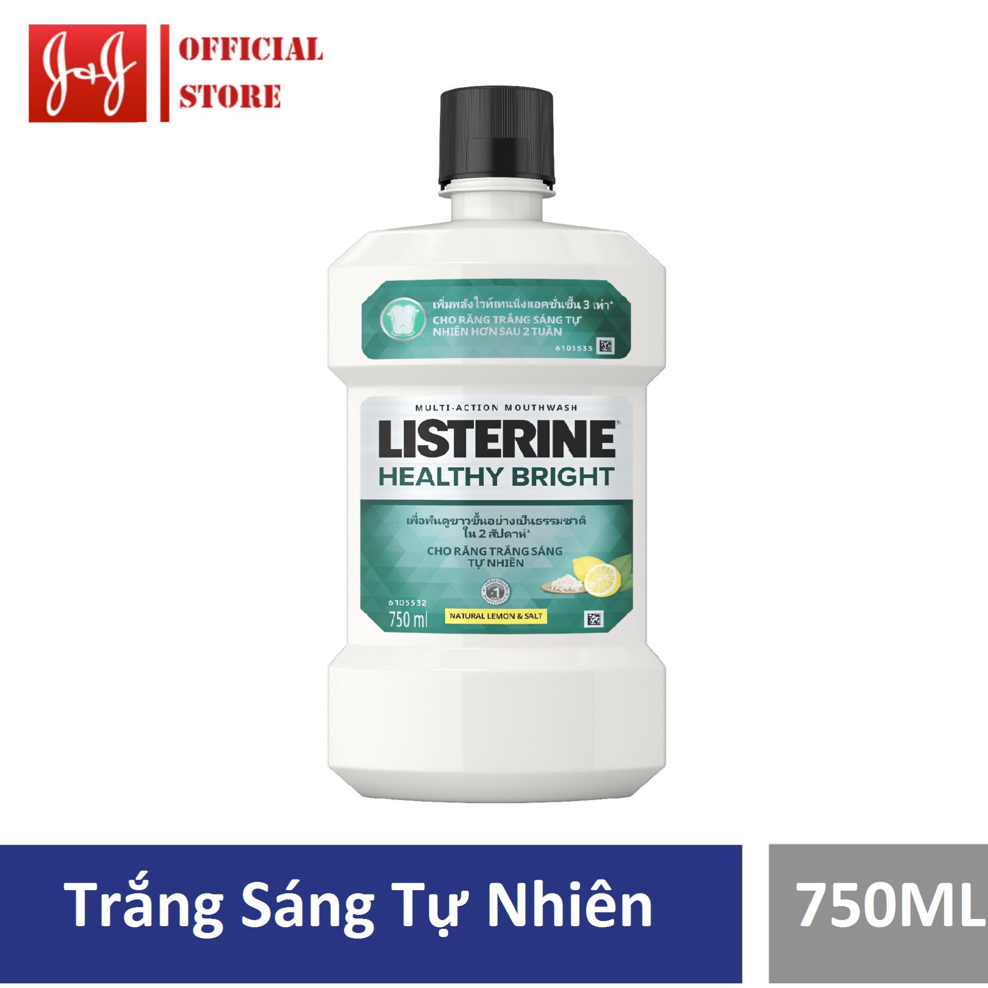 Nước súc miệng Listerine giúp răng trắng sáng Healthy bright 750ml - 100945468 nhập khẩu
