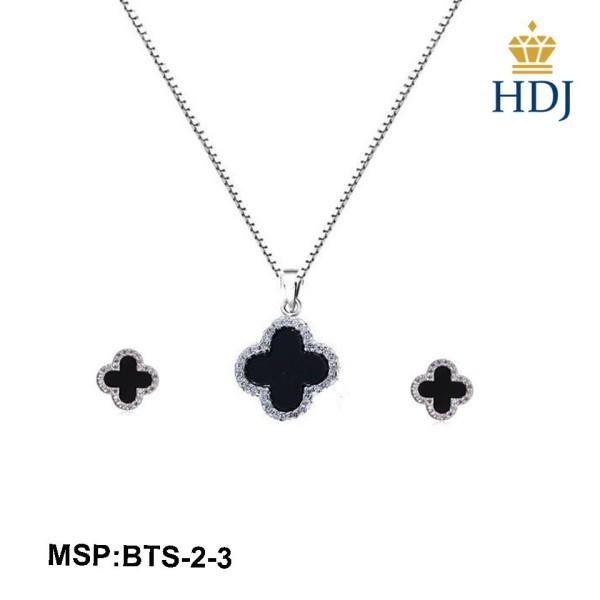 Bộ trang sức dây chuyền và bông tai bạc Ý 925 - Cỏ bốn lá may mắn sang trọng trang sức cao cấp HDJ mã BTS-2-3