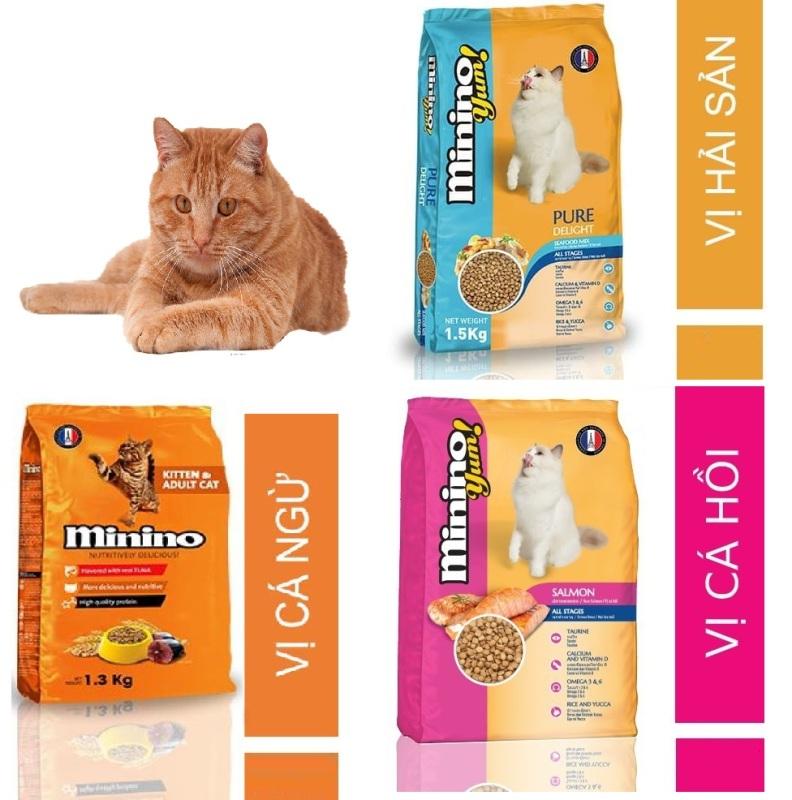 Hanpet -(Gói lớn 1,5kg-1,3kg) MININO Thức ăn viên cao cấp cho mèo, dùng cho mèo mọi lứa tuổi Thức ăn mèo me-o vị hải sản và cá ngù