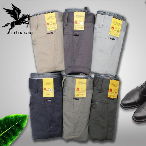 Quần ống đứng kaki nam trung niên chất vải bền không ra màu không xù lông size 50-90kg vải kaki bền đẹp phom dáng thời trang - Quần kaki nam trung niên QKNTN01