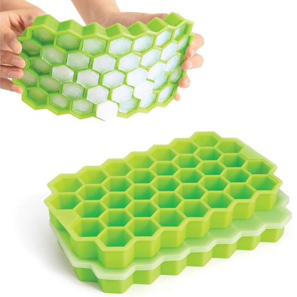 Ice Cube Trays, 2 Pack Food Grade Silicone Flexible Ice Cube Molds with Lid Spill-Resistant Removable Lid Ice Cube Molds For Chilled Drinks, Whiskey & Cocktails-Green Singapore