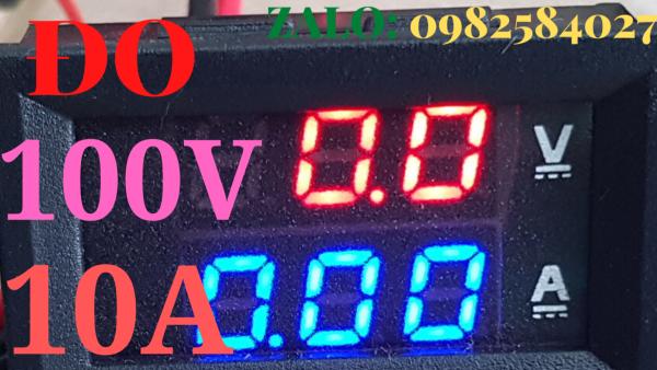 Vôn Kế Đồng Hồ Đo Dòng Điện Ampe Kế Chỉ Số Điện Áp Vôn Kế Ampe Kế Mini Ampe Kế Vôn Kế Kỹ Thuật Số Màn Hình LED Với Cáp Xanh Đỏ Dual DC 100V 10A