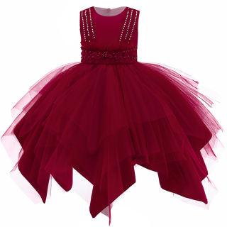 Đầm Công Chúa Đính Hạt MQATZ Cho Đầm Không Đối Xứng, Đầm Váy Cho Bé Gái Trang Phục Trẻ Em, Trang Phục Váy Xòe Dự Tiệc Hoa Cho Trẻ Em, L5120