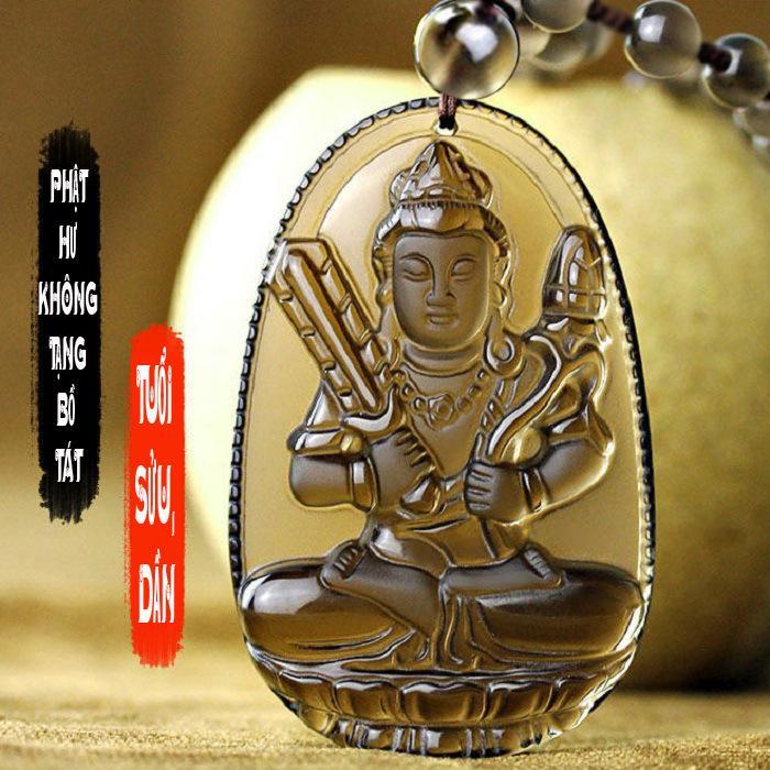 Chuỗi hạt đeo cổ mặt phật bản mệnh người tuổi Sửu, tuổi Dần - Phật Hư Không Tạng Bồ Tát S668 ( đá vàng )