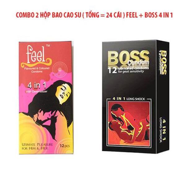 Combo Bao Cao Su Boss 4 in 1 và Bao Cao Su Feel Gân Gai Nhỏ Có kéo Dài Thời Gian 52mm [ Tổng 24 cái BCS]
