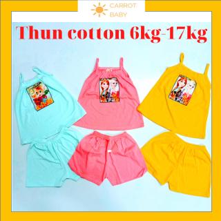 đồ bộ bé gái-vải thun cotton từ 6kg đến 17kg-hàng Việt Nam -kiểu 2 dây thấm hút mồ hôi -Màu ngẫu nhiên - [CARROT BABY SHOP] quan ao tre em be gai - do bo be gai