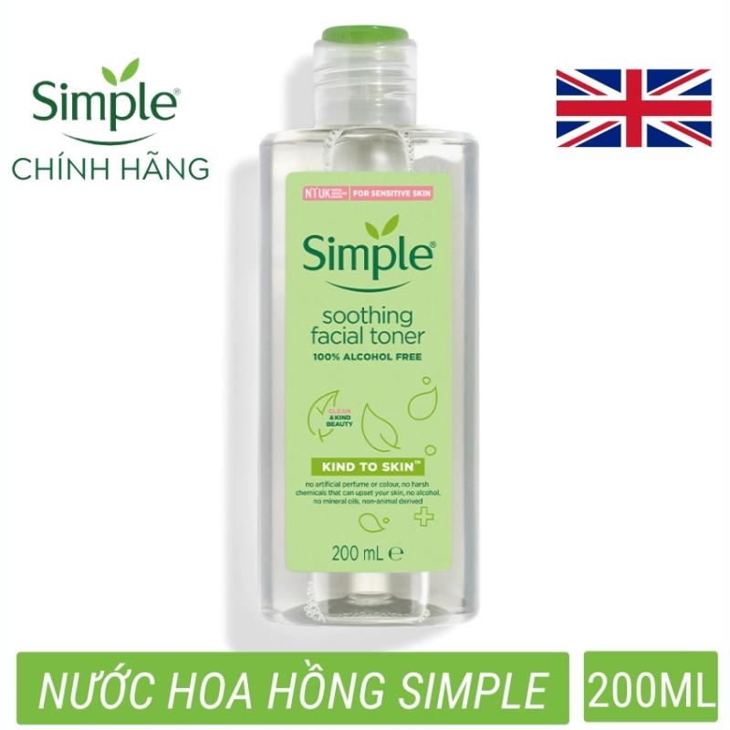 Nước hoa hồng toner Simple (CHÍNH HÃNG) Kind To Skin Soothing Facial Không chứa cồn diệu nhẹ cho làn da  (200ml)- đồng hành cùng Lazada