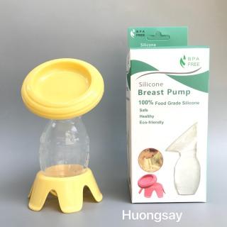 Cốc,phễu hứng chứa sữa mẹ silicon kèm nắp và chân đứng thumbnail
