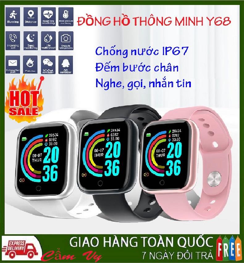 Đồng hồ thông minh chống nước Y68 cho người lớn, trẻ em - Vòng đeo tay thông minh,máy theo dõi sức khỏe đo huyết áp, đo nhịp tim, đếm bước chân, nhắn tin, nghe gọi như miban, apple watch, smartwatch.