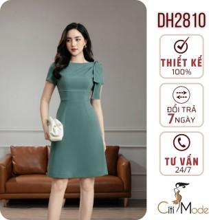 Đầm xòe xanh công sở nơ vai cách điệu nữ tính DH2810 thumbnail