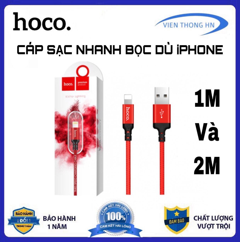 CÁP SẠC DÂY SẠC NHANH DÂY DÙ HOCO X14 1M Và 2M - Lightning Cho IPhone IPad Giảm Cực Khủng