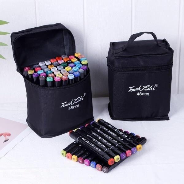 Mua Túi bút màu Maker Touch 48 chiếc đủ màu thiết kế 2 đầu vẽ phù hợp với các nét vẽ, cho màu vẽ ra đẹp tự nhiên, không chất độc hại, an toàn cho trẻ em và người lớn (Tặng kèm túi vải bố cực chất cất gọn hoặc mang đi xa)