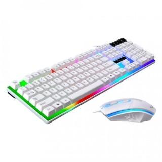 Bộ Bàn Phím Và Chuột Phát Sáng, Bộ bàn phím giả cơ ĐÈN LED cầu vồng có dây USB Bộ bàn phím giả cơ và chuột game dành cho game thủ NTC G21 led đa màu, Bàn phím chơi game thumbnail