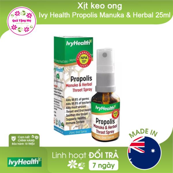 Xịt keo ong Ivy Health Propolis Manuka & Herbal 25ml ÚC SIÊU DỊU NHẸ KHÔNG CAY