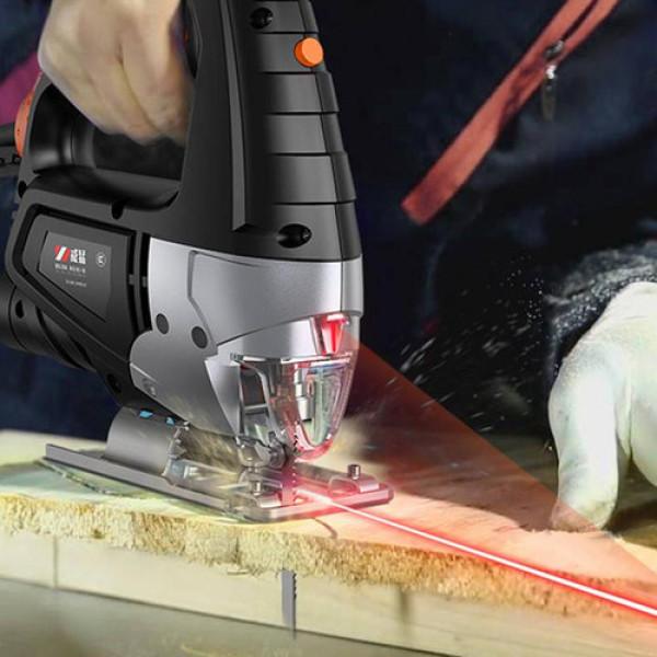 áy cưa lọng cầm tay cao cấp 710W, 6 tốc độ tặng kèm 2 bộ 5 lưỡi cưa cắt gỗ,5 lưỡi cưa cắt kim loại,bảo hành 12 tháng