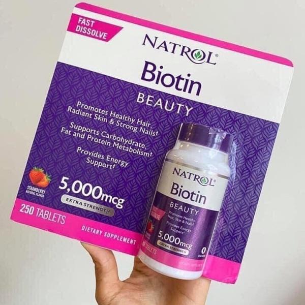 Viên ngậm hương dâu Natrol Biotin Beauty 5000mcg  250 viên giảm rụng tóc, cho làn da đẹp giá rẻ