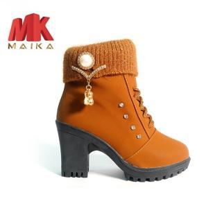 Giày boot nữ đế vuông S106 (Nâu) MKSTORE