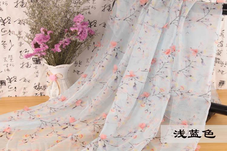 30D Hoa In Vải Chiffon Chất Vải Lập Thể Hoa Phong Cách Trung Quốc Chất Vải Tơ Lụa Cổ Trang Hán Phục Váy Trang Phục Vải
