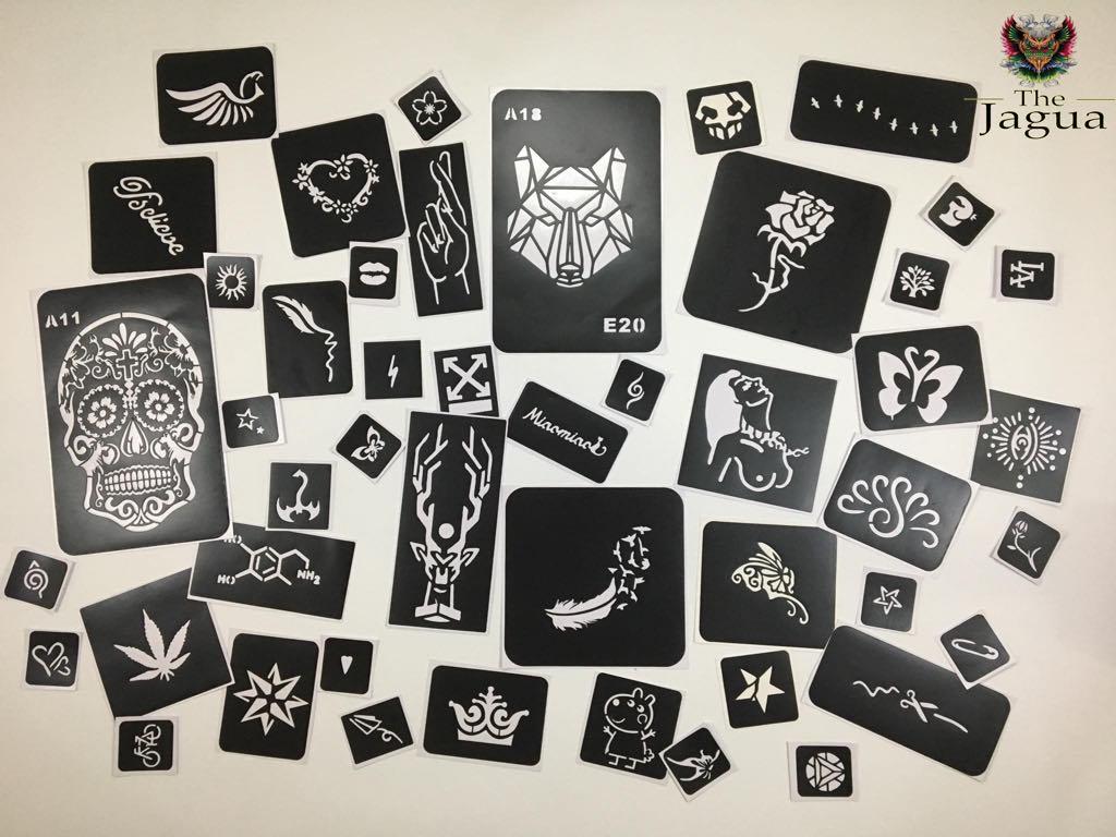 set 10 hình khuôn vẽ The Jagua size S đến XXl có thể dùng được cho cả mực xăm henna và inkbox